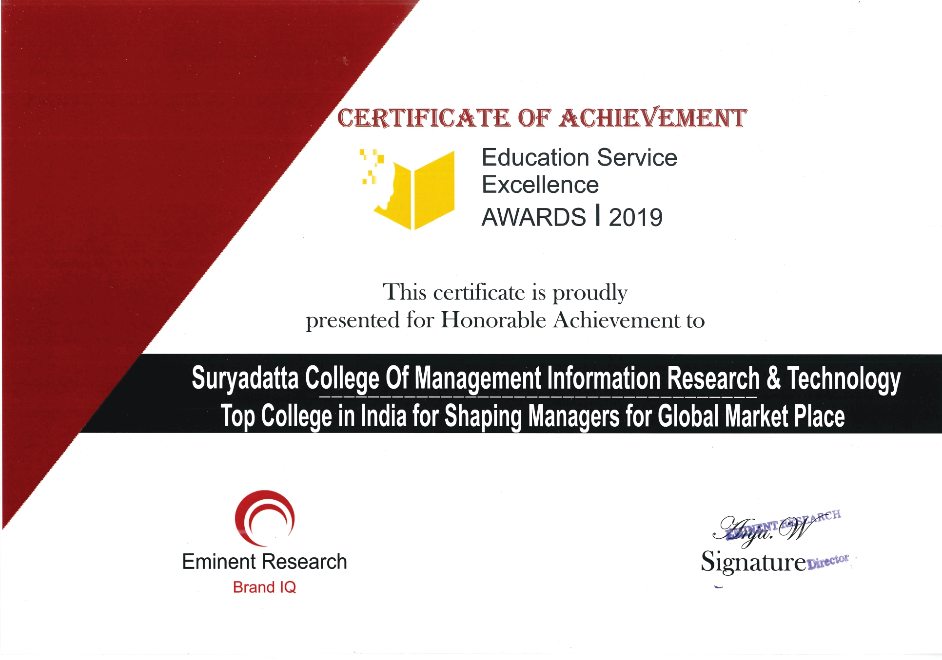 SCMIRT Education Service Excellence Awards 2019 Eminent Research Brand IQ page 0001