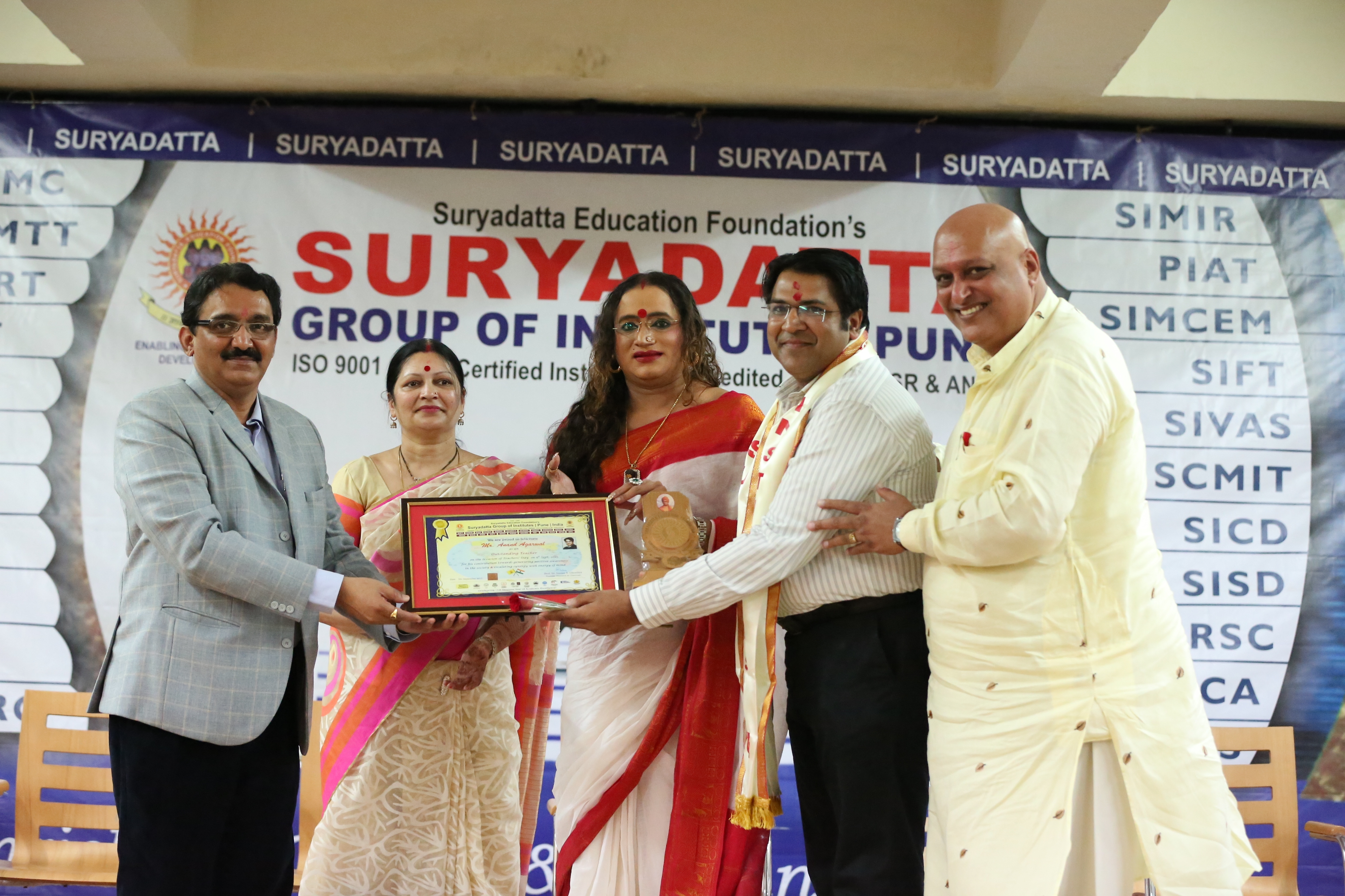 Suryadatta Confers Best Teachers Award to Ms. Laxmi Narayan Tripathi for her contribution towards generating positive awareness in the society for transgender community on the occassion of Teachers Day 2015